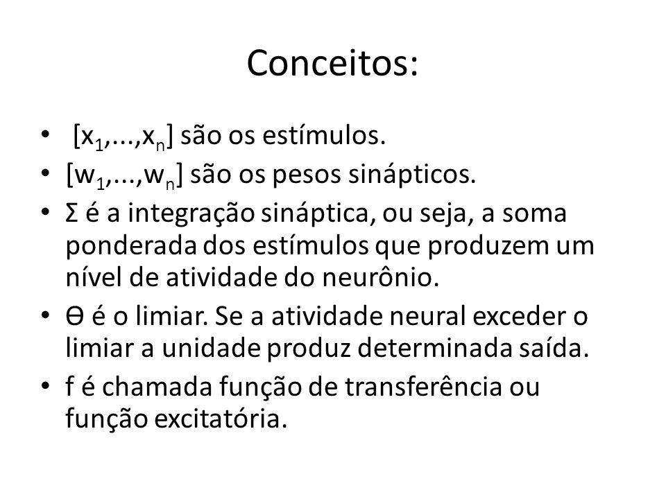 Conceitos: [x1,...,xn] são os estímulos.